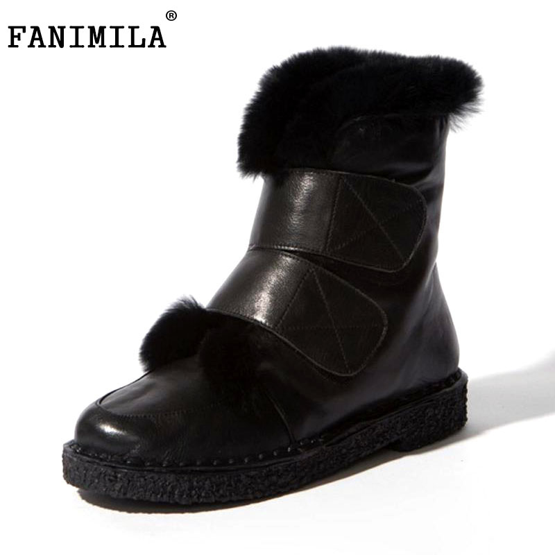 FANIMILA Women Genuine Leather Thick Fur Shoes Flats Boots Warm Half Short Boots For Cold Winter Botas Women Footwear Size 34-39 women real genuine leather ankle boots half short boots winter warm botas lady footwear leisure shoes r7465 size 34 39
