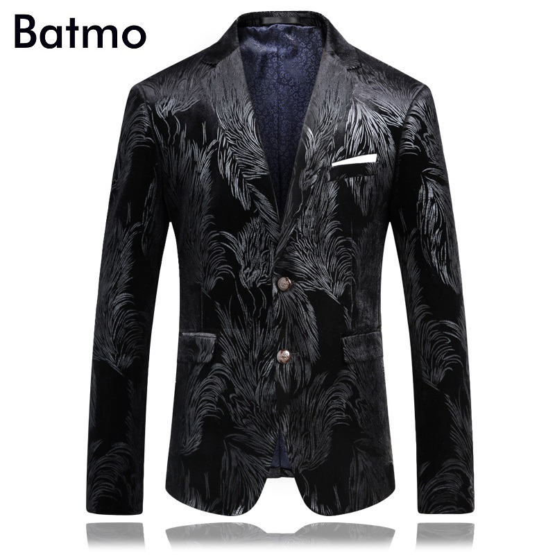 2017 High Quality Famous Brand Casual Velvet Printed Blazer Men Business Blazer Jacket Plus-size S,M,L,XL,XXL,XXXL,4XL
