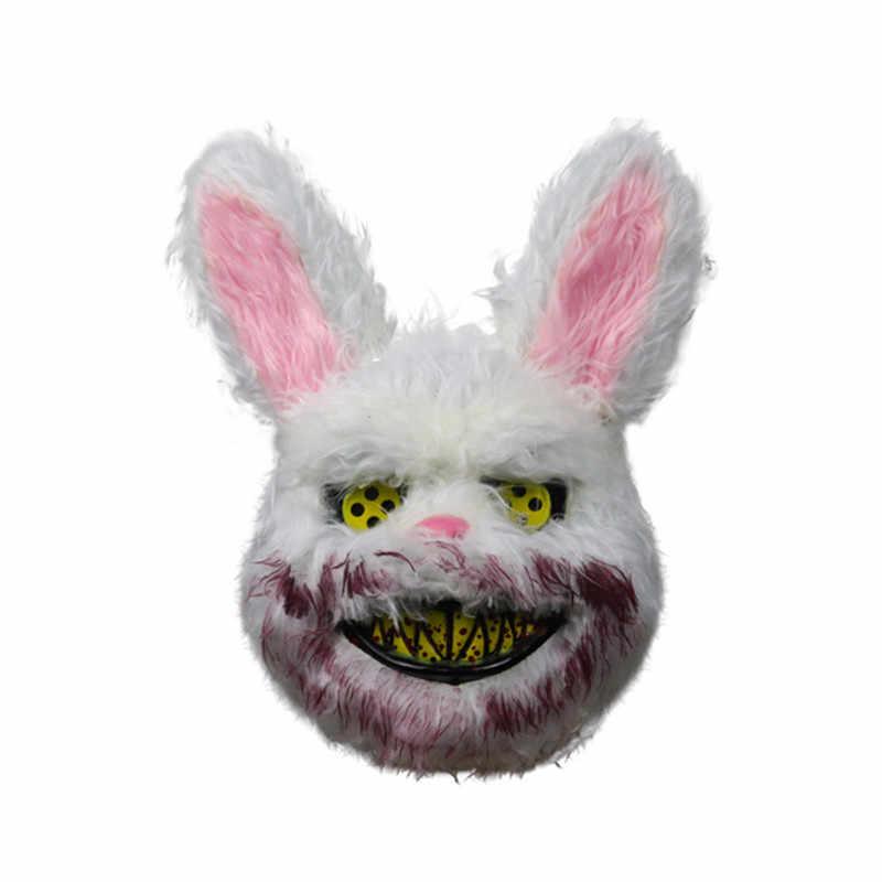 Maski na Halloween zła krwawe królik straszny maska pcv pluszowa zabawka Party rekwizyty Horror Cosplay maska Model kostium