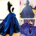 De alta qualidade do Querido Azul Royal Árabe vestido de baile Longo Evening Prom Dress 2016 Rihanna Concerto do assoalho-comprimento Vestidos de celebridades