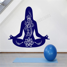Art  Wall Sticker Yoga Girl Meditation Decoration Vinyl Removeable Decal Beauty Ornament Lotus Pose Om Mantra LY235