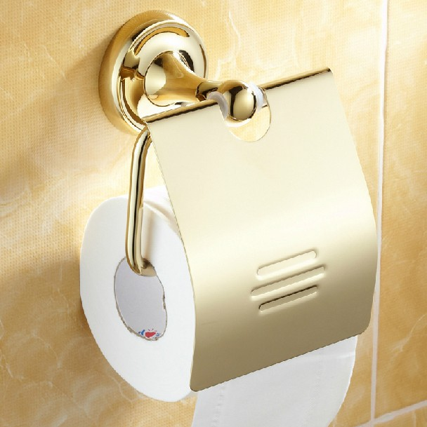 ФОТО Gold Plated zirconium high-quality toilet paper holder