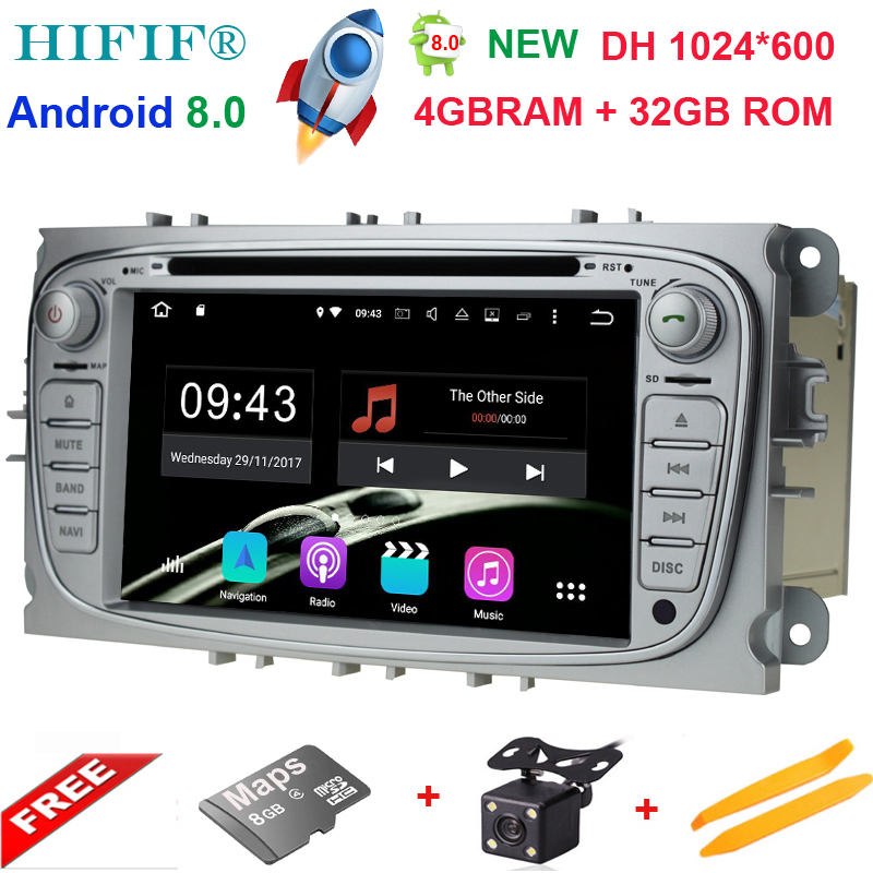 4+32GB 2 din Android 8.0 Octa Core Car DVD Player GPS Navi for Ford Focus Galaxy with Audio Radio Stereo wifi Head Unit 1024*600 цена 2017