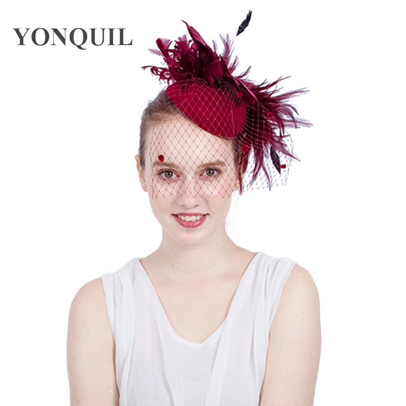 2017 Stylish Feather flower pillbox Fascinator party Hats with hair clips bridal netting veils hats on winter 19 colors SYF154 chifres malevola png