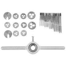 DRELD 30pcs Metric Mini Taps Dies Set M1-M2.5 Screw Thread Plugs Taps Alloy Steel Screw Taps With Tap Wrench Hand Tools Set