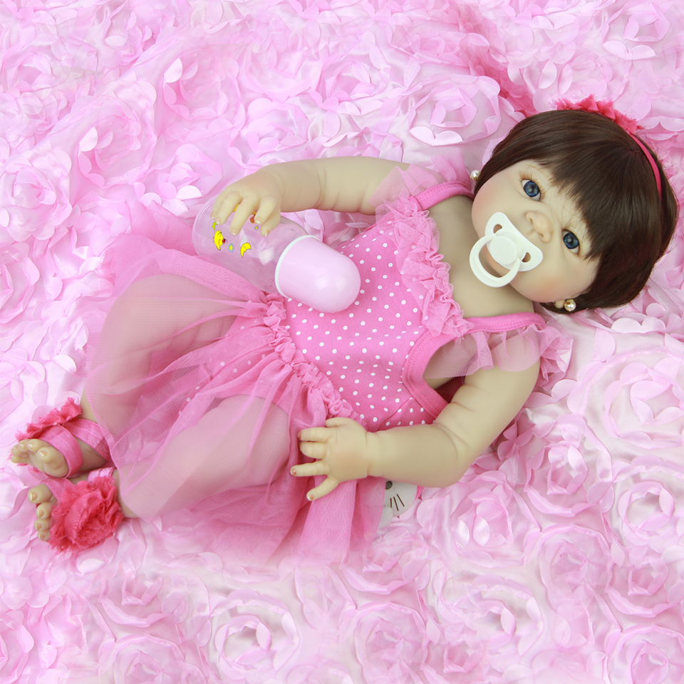 Wear Pink Dress Reborn Babies Girl 23'' Doll Realistic Princess Full Silicone Vinyl Baby Dolls So Truly Boneca For Toddler Toys npk lifelike 16 soft silicone reborn baby dolls truly pretty girl reborns realistic babies doll wear dress toddler playmate
