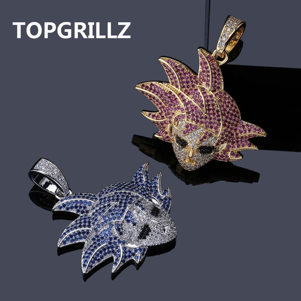 TOPGRILLZ Dragon Ball Charakter Gokan Anhänger Halskette Iced Out Cubic Zirkon Hip Hop Gold Silber Farbe Männer Charme Kette Schmuck