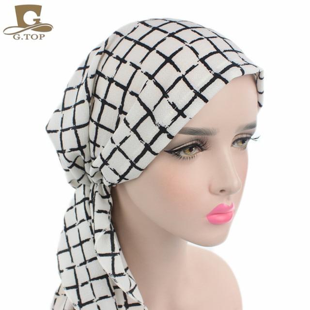 d84e120adde3 Nouveau Femmes Foulard Chimio Chapeau Turban Pré-Attaché Chapeaux Bandana  Tichel Pour Dames de Cancer
