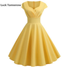 Summer Women Dress Sexy Slim Elegant V-Neck Yellow Solid Short Sleeve Party Dresses Female 50S 60S Vintage A-Line Dress Vestidos(China)