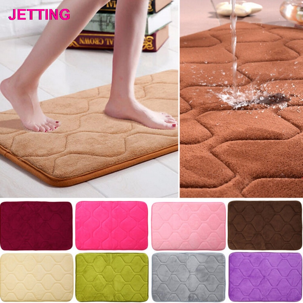 40cmx60cm Absorbent Memory Foam Non-slip Kitchen Floor Mat Square Coral Velvet Shower Bath Mat Rug Sanitary Ware Suite