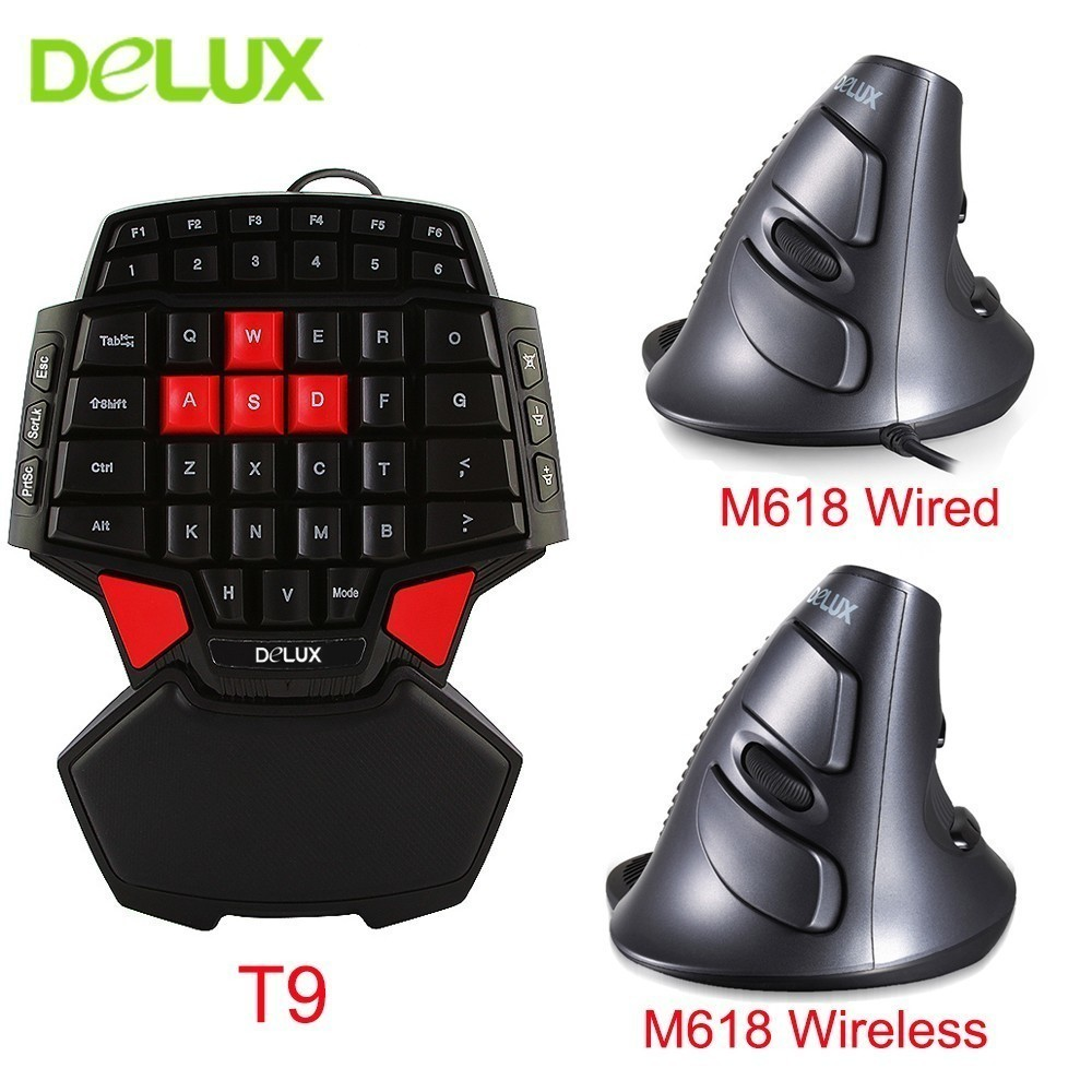 Delux Professional Wired Gaming Mouse Keyboard Combo Ergonomic Single Hand T9 Mini Keypad with Optical M618 Vertical Mouse Kits delux mini keyboard t9 pro gaming mouse 626 wired professional gaming 7 color backlit wired mouse 5000dpi 6600 fps for game pc