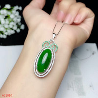 KJJEAXCMY boutique jewels 925 pure silver inlaid natural jade necklace + pendant female style fire colored jewelry.