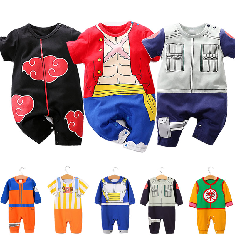 Baby   Romper   Toddler One Piece Luffy Onesie Baby Boy Uzumaki Kids Doctor Chopper Jumpsuit Infant Kakarot Akatsuki Costume 3M-18M