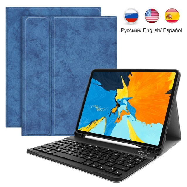 Mini Wireless Bluetooth Keyboard Russian Spanish Magnetic PU Stand Keyboard Case For iPad Air 1 2 New 2017 2018 9.7 inch Cover