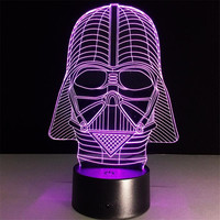 Star Wars Dark Warrior3D Night Light 7 Colors Cartoon Table Lamp Acrylic LED Lamp Novelty Lighting