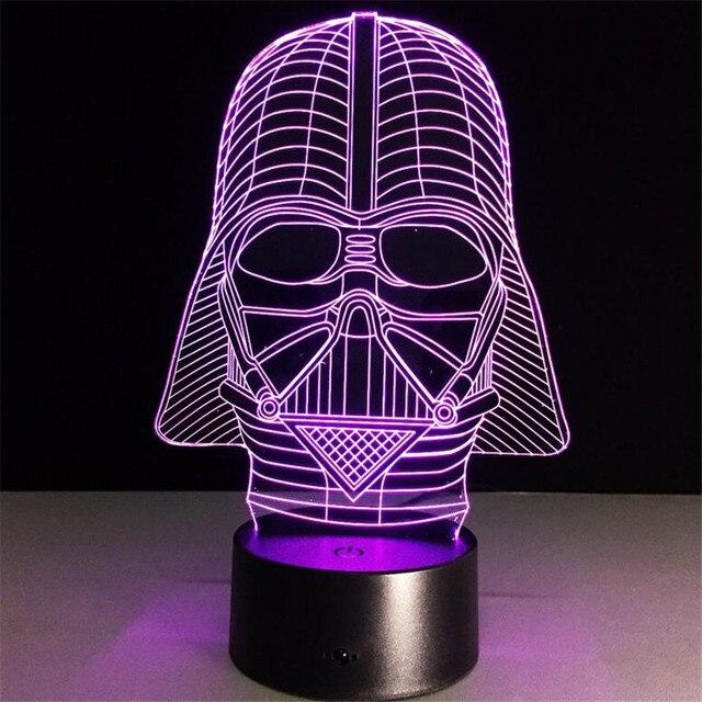 Star Wars Dark Warrior3d Nachtlicht 7 Farben Cartoon Tischlampe