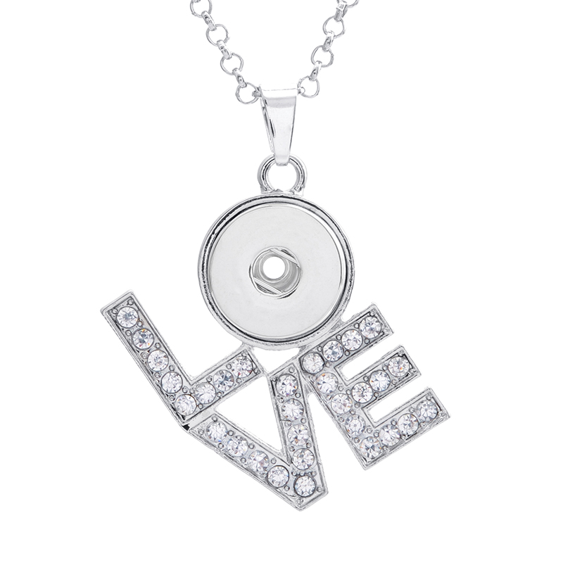 Hot sale XL0005 LOVE rhinestone Metal snap Pendant Necklace fit 18mm snap buttons fashion DIY Fittings for snap jewelry