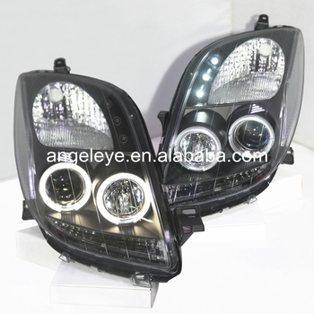 2006-2010 year For TOYOTA for Yaris LED Angel Eyes headlights Black Housing SN
