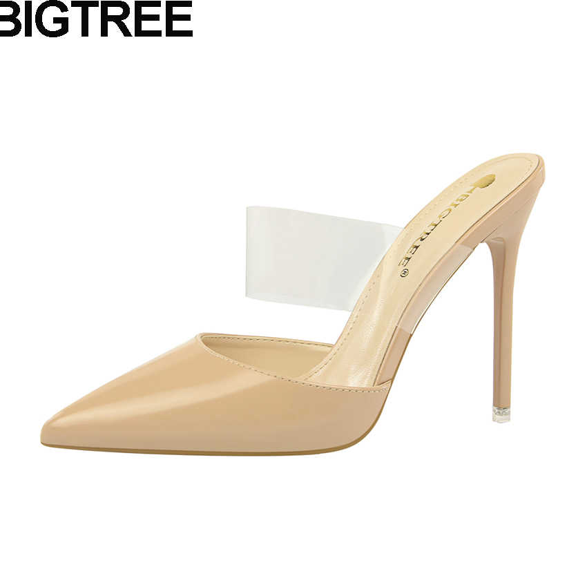 1cf495f1dd BIGTREE Women Pumps PVC Clear Strap High Heels Cut Out Pointy Toe  Transparent Sandals Mules Fashion