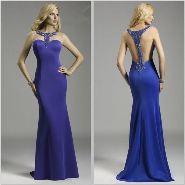 Royal Blue O-Neck Mermaid Long   Evening     dress   Plus Size Sheer Backless Sleeveless formal   evening   gowns   dresses   Abendkleider 2017