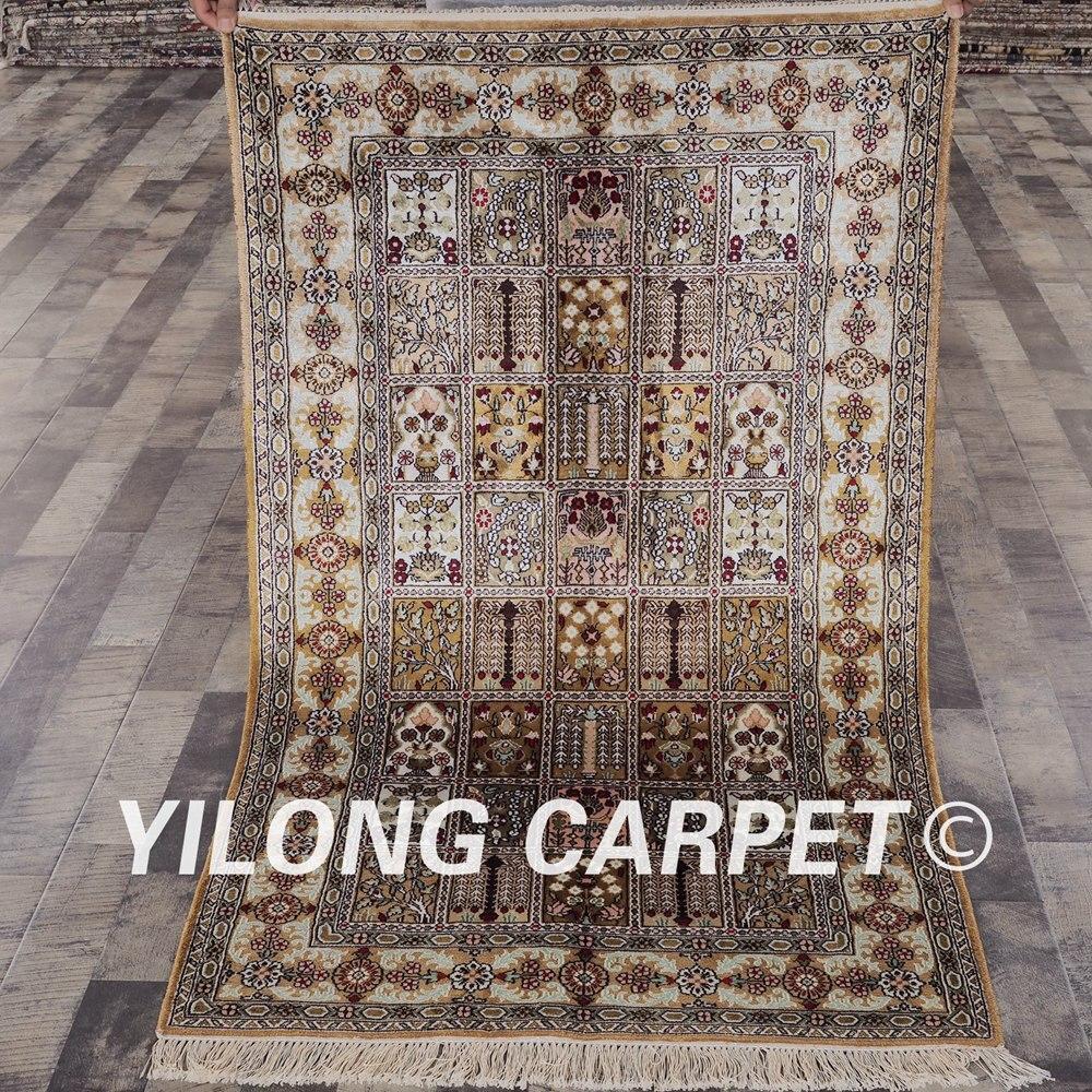 YILONG 3'x5 'tapis de soie persane quatre saisons tapis de soie orientale persane noués à la main (YHW232B3x5)