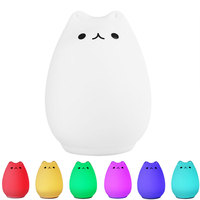 LED Cat Night Light 2 Modes USB Rechargeable Silicone Luminaria Touch Sensor Bedside Baby Nursery Lamp