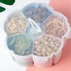 Płatek kształt obrotowy pojemnik na przekąski naczynie na słodycze pudełko do przechowywania żywności ślub cukierki talerze dwupokładowy suszone owoce organizator przechowywania|Tace|   -