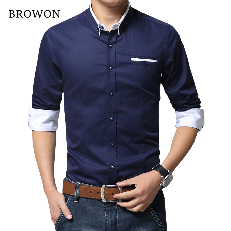 2018 New Arrival Menn Casual Business Shirt Langermet Koreansk Stil Solid Farge Bomull Menn Shirt Slå ned krage skjorte for menn