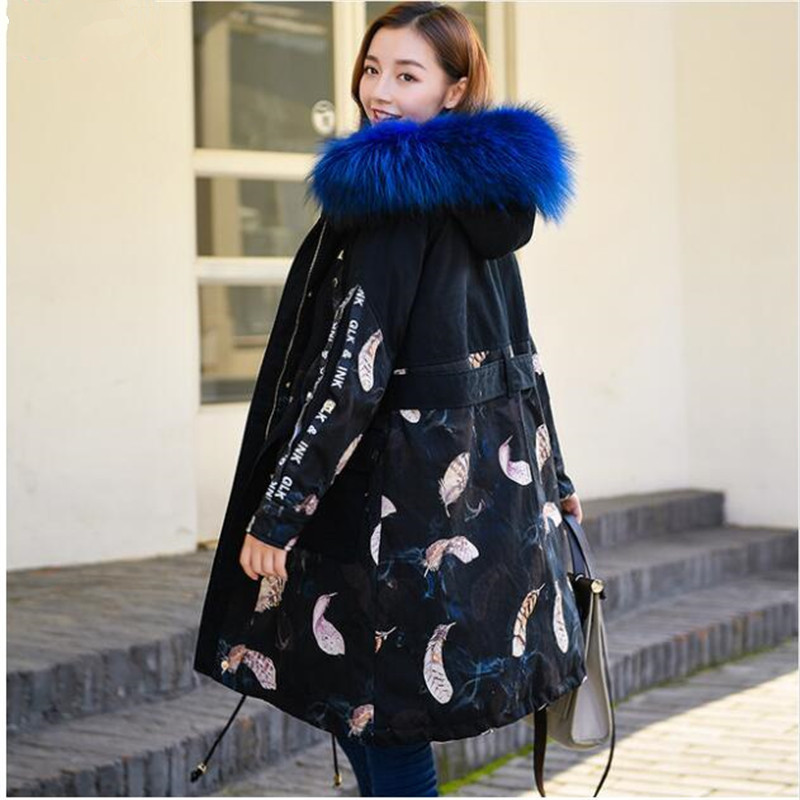 2018 Winter white duck   down     coats   womens personality print   down   jacket   coat   female hooded warm   down   parkas ladies loose overcoat