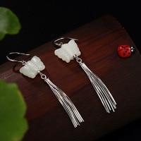925 Earrings Sterling Silver Natural Jade Butterfly Long Tassel Earrings For Women Wholesale Lots Bulk Jewelry Oorringen