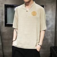 Men Tshirt Men's Men's Baggy Cotton Linen Soid Color Short Sleeve Retro T Shirts Tops Blouse