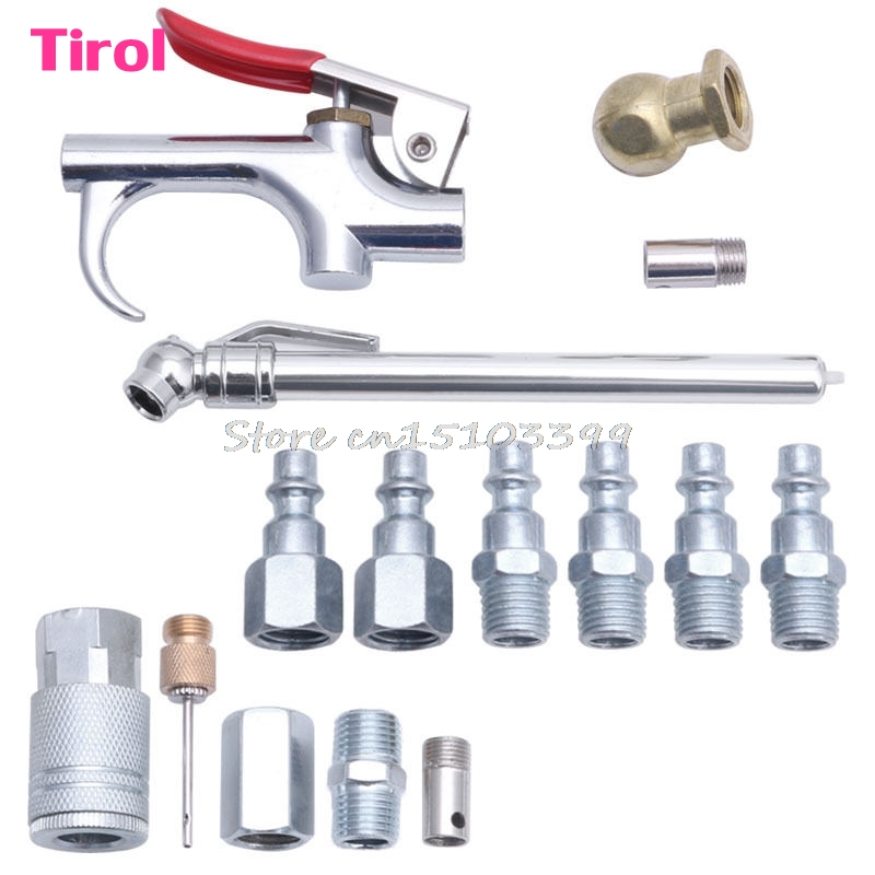 14Pcs Air Tool Dust Compressor Nozzle Blow Gun Accessory Duster Cleaning Kit G08 Drop ship fixmee air dust blower gun set compressor duster blowing blow tools fittings airtool