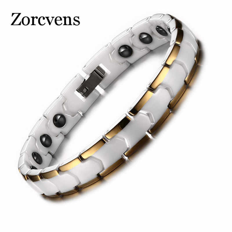 ZORCVENS Relationship Bracelet for Women Ceramic Medical Alert Bracelet with Magnet Healthy Hand Chain