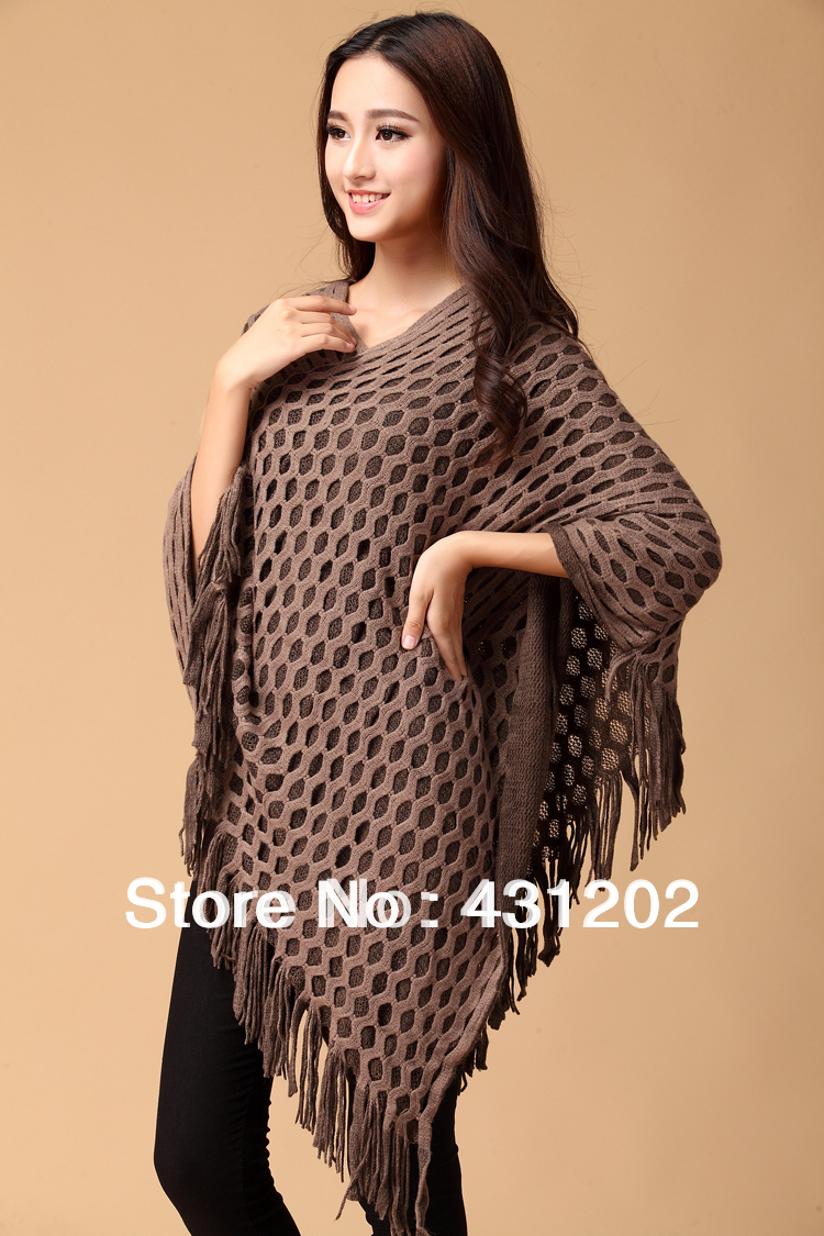 Newest Batwing Sleeve Tassels Hem Style Stylish Women Cloak Poncho ...