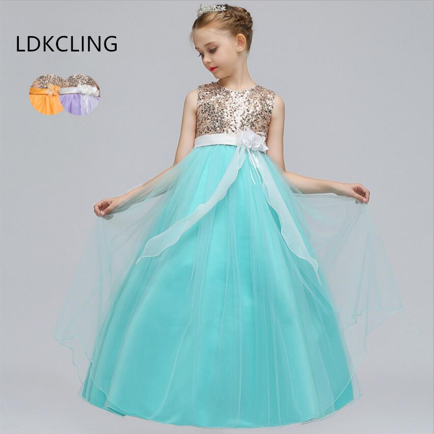 купить New Elegant Princess Girl Communion Party Prom Dress Pageant Wedding Gown Sequins Flower Girl Dress Children Clothing Long Dress дешево