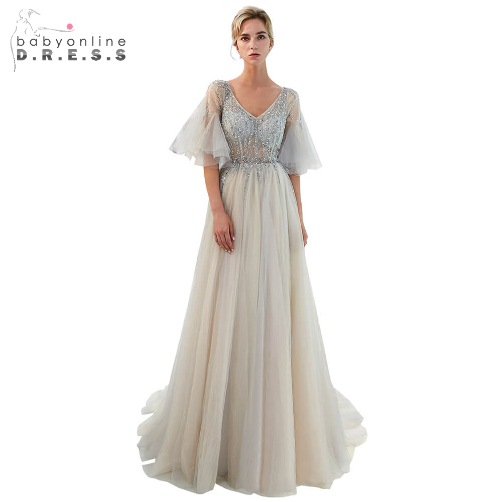 Illusion Beading Crystal Long   Prom     Dresses   2019 Sexy Front Silt Double V-Neck   Prom   Gown Light Gray Party   Dress   vestido de noiva