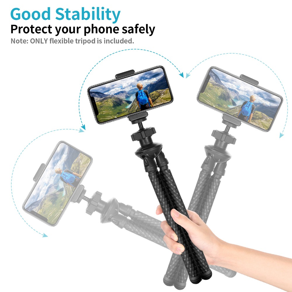 Neewer Phone Tripods 360 Degree Spherical Photography Phone Clamp NOT Included Waterproof Anti-Crack Camera GoPro//Cell Phone Tripod 12 Flexible Tripod for X 8 Plus 8 Samsung S9 and More