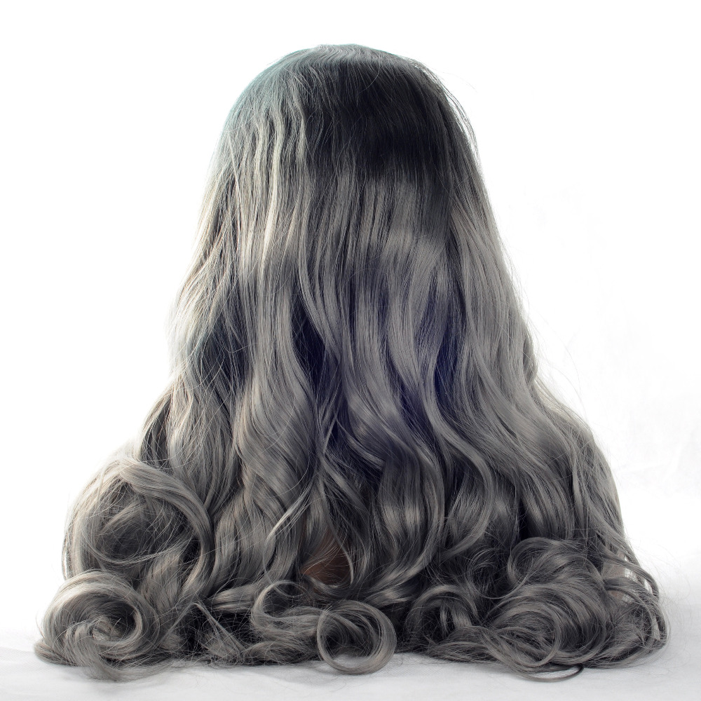 VNICE Fashion Ombre Dark Grey Body Wave Synthetic Lace Front Wig Black Roots to Gray Heat Resistant Wigs for Women 20-24in