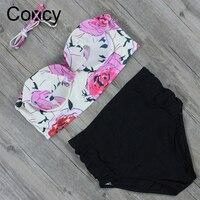 Coxcy Newest High Waist Bikinis Set Women Swimsuit Straps Printed Swimwear Push Up Retro More Colors