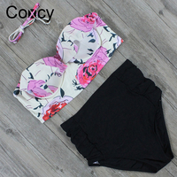 Coxcy Newest High Waist Bikinis Set Women Swimsuit Straps Printed Swimwear Push Up Retro More Colors