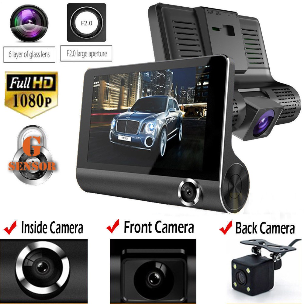 HD 1080P 3 Lens Car DVR Dash Cam G-sensor Vehicle Video Recorder Rearview Camera