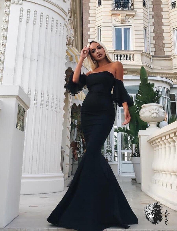 Bretelles Hiver Date Bandage Sirène Long Sexy Noir Manches 2018 Club Robe Robes Ruche Party Flare Sans Pour De Maxi Femmes 8wm0nN