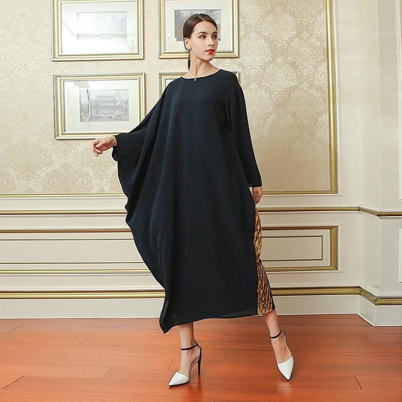 0e22db988d581 VOA Deep Navy Blue Loose Plus Size Women Silk Long Dress Gold Edging Muslim  Casual Robe Dresses Ladies Islamic Clothing ALJ02101