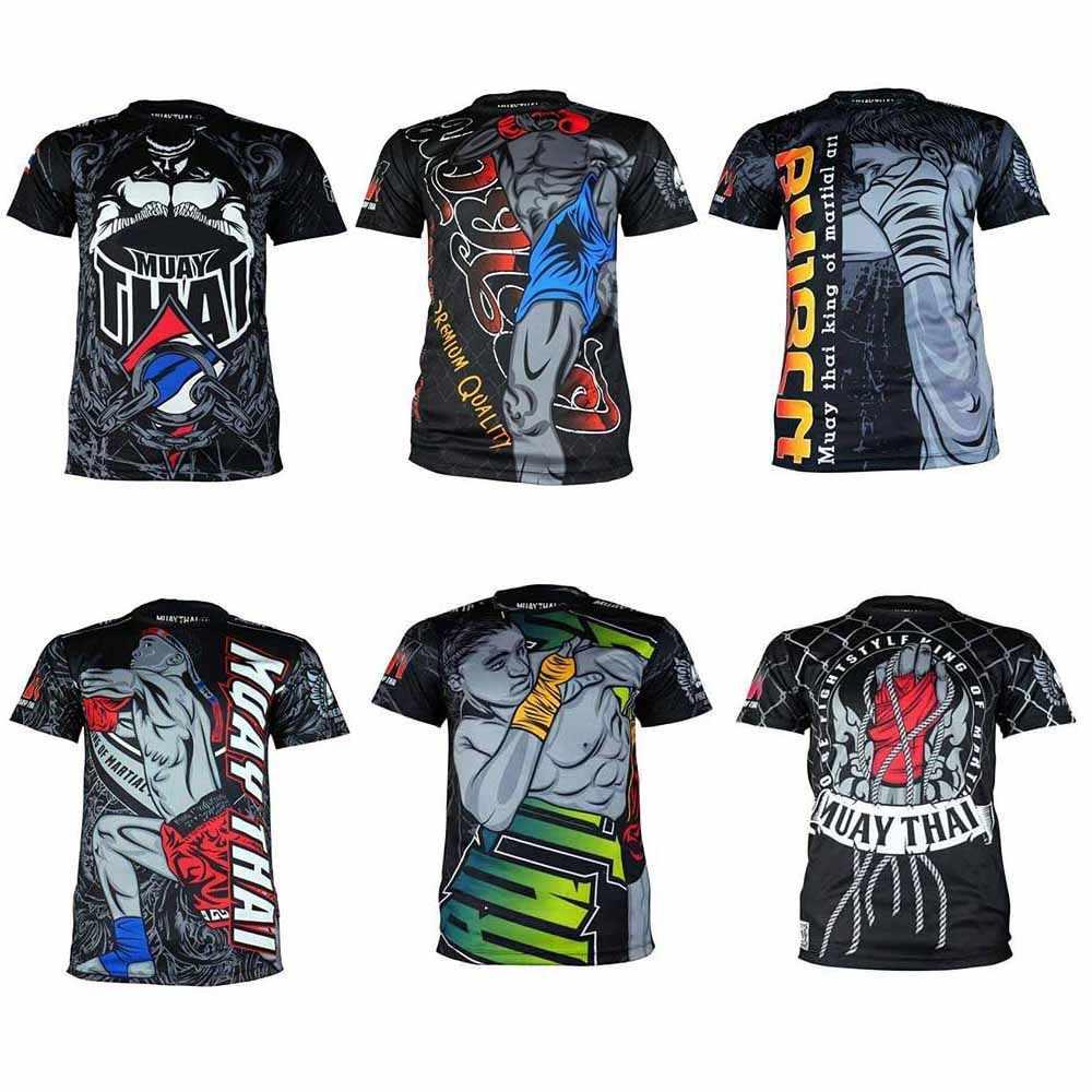 MMATrunks طباعة طفح الحرس BJJ Rashguard MMA Gi الملاكمة جيرسي التايلاندية قميص جيو جيتسو الرجال تنفس تصارع التي شيرت و تانك القمم