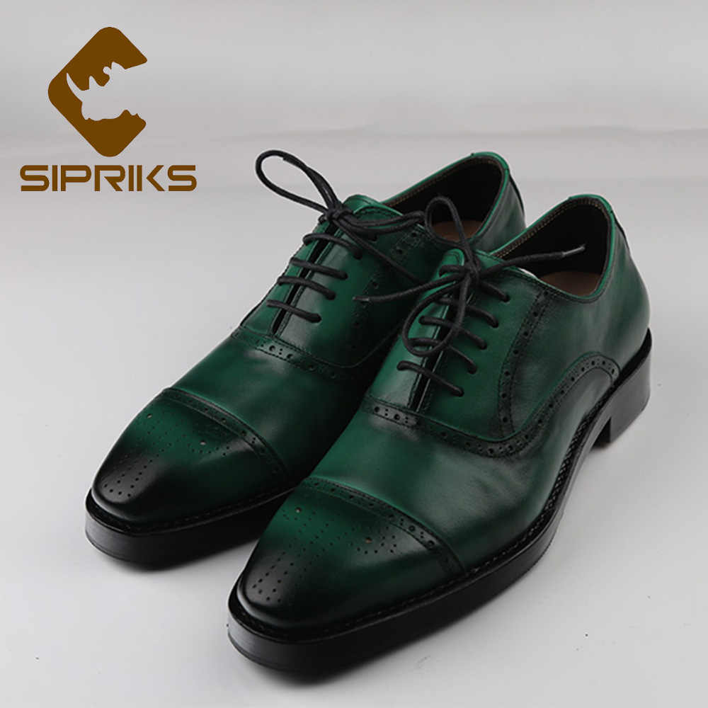 54219165346de Sipriks Double Leather Sole Dress Shoes Italian Bespoke Goodyear Welted  Shoes Patina Green Leather Brogues Oxfords