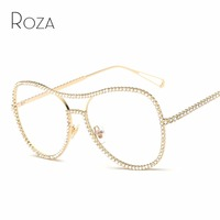 Queen College Sunglasses Women Decorative Rhinestone Mirror Lens Copper Frame Brand Designer Twin Beam Sun Glasses