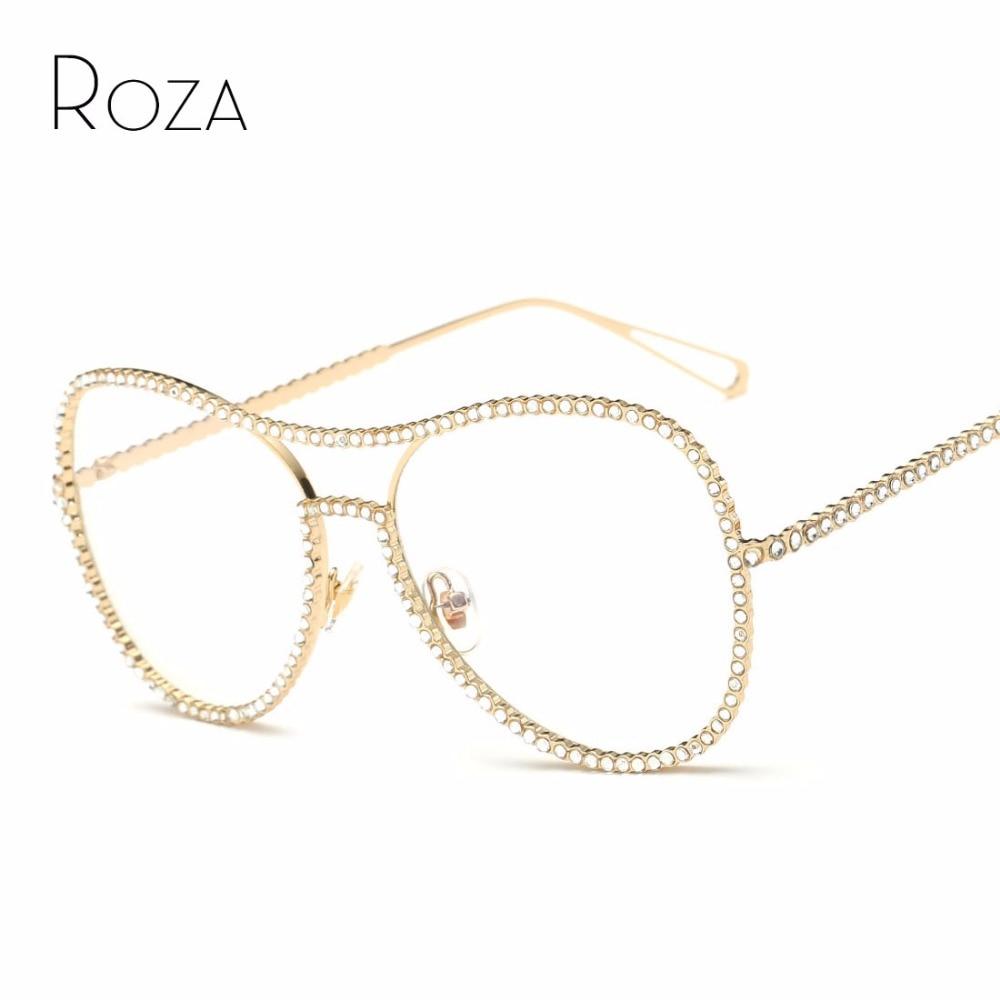 ROZA Sunglasses Women Decorative rhinestone Mirror Lens Copper Frame Brand Designer Twin Beam Sun Glasses UV400 QC0470 ...