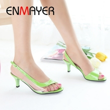 ENMAYER  PU Basic Casual Women Shoes Woman Sandals 2019 Summer Solid Sexy Classic High Heel Size 34-45 LY1618