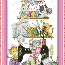 The kitten beside the sewing machine (2) cross stitch kit  print canva