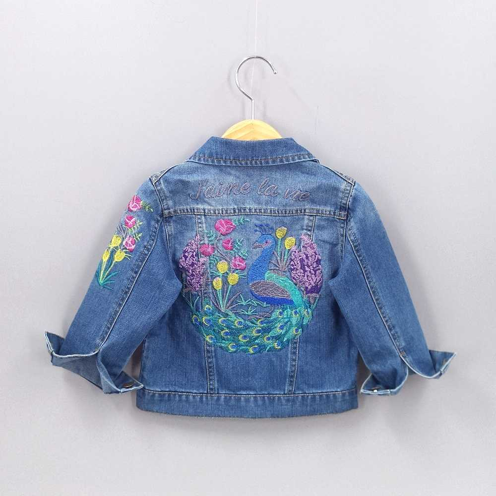2-10T Spring Girls Outfits Toddler Denim Embroidery Cockdail Flowers Jeans Jacket Kids Coats Baby Girl Clothing Children Clothes